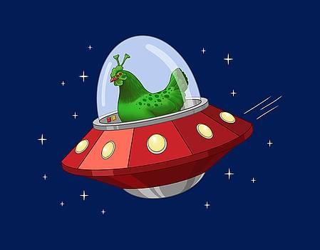 Crista Forest - Funny Green Alien Martian Chicken In Flying Saucer