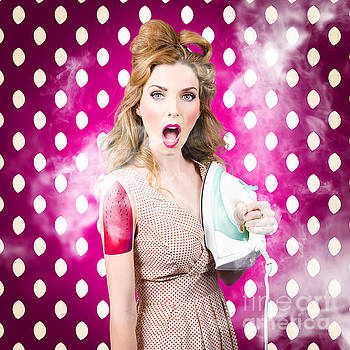 Funny pin-up woman pressing clothes. Dry cleaning by Jorgo Photography - Wall Art Gallery