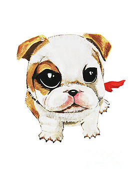 Funny puppy hand painted watercolor  by Rasirote Buakeeree