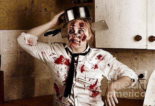 Funny zombie cook dancing in horror kitchen by Jorgo Photography - Wall Art Gallery