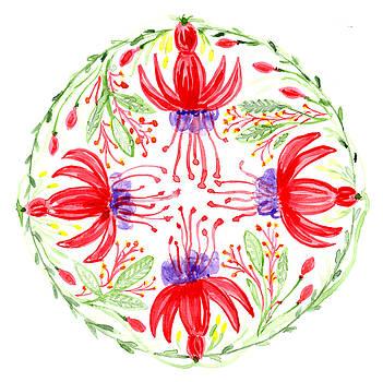 Fuschia Botanical Mandala by Louise Gale