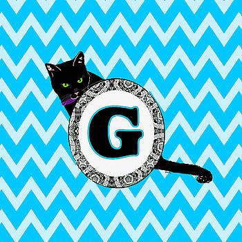 G Cat Chevron Monogram by Paintings by Gretzky