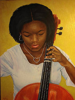 Gabi playing her cello by Rebecca Steelman