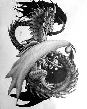 Galaxy Dragon Graphite Drawing by Hailey Carter