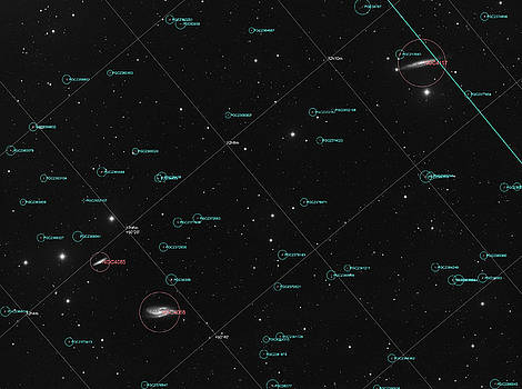 Galaxy NGC 4088 and NGC 4157 in constellation Ursa Major, annotated image by Lukasz Szczepanski