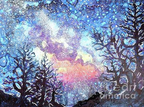 Galaxy Spring Night Watercolor by CheyAnne Sexton