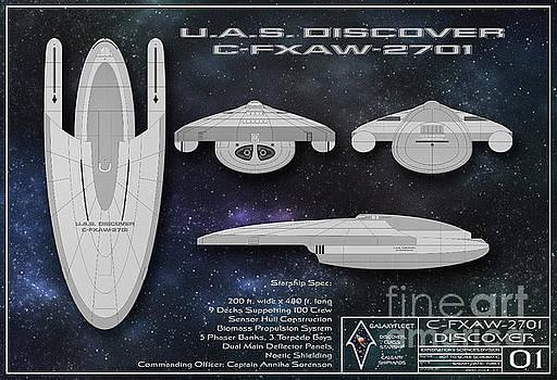 Galaxy Trek  Vulcan To Boldly Go Poster Starship Schematic by Brad Allen Fine Art