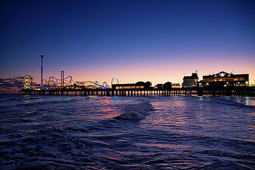 Galveston Pier at Night by Steven Michael