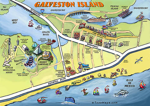 Kevin Middleton - Galveston Texas Cartoon Map