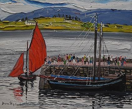Galway Hooker Roundstone pier Ireland by Diana Shephard