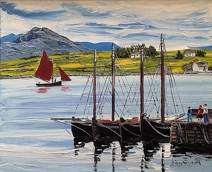 Galway Hookers at Roundstone Harbour by Diana Shephard
