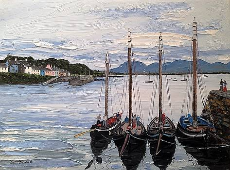 Galway Hookers at Roundstone Village Connemara Ireland by Diana Shephard