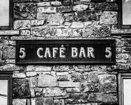 Galway Ireland Cafe Bar in Black and White by Lisa Russo