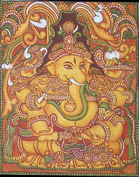 Ganesa 1-kerala Mural by Asha Sasikumar