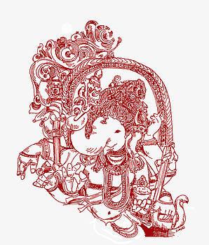 Ganesha Line Drawing by Suhas Tavkar