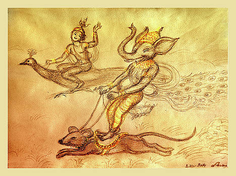 Ganesha and Kartikeya in a  race by Ananda Vdovic