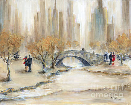 Gapstow Bridge And Lovers by Marilyn Dunlap