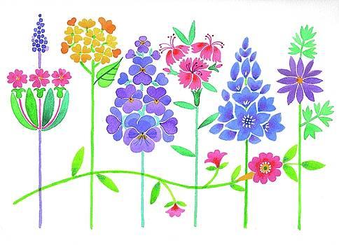Garden Flowers in a Row by Mary Maki Rae