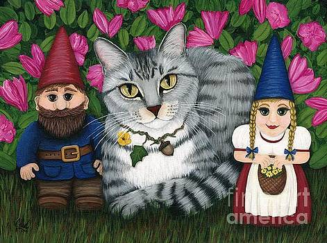 Garden Friends - Tabby Cat and Gnomes by Carrie Hawks