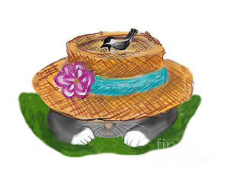 Garden Hat Cat Nap with a Chickadee by Ellen Miffitt