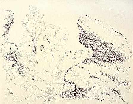 Adam Long - Garden of the Gods Rocks Along the Trail ink drawing on toned pa