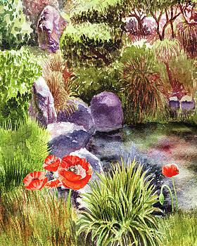 Garden Poppies Rocks And Pond by Irina Sztukowski