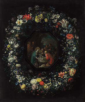 Frans Francken the Younger and Master HDB - Garland of Flowers with Adoration of the Shepherds