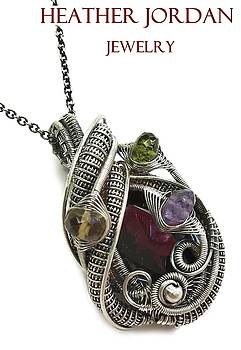 Garnet Wire-Wrapped Pendant in Antiqued Sterling Silver with Amethyst, Citrine and Peridot by Heather Jordan