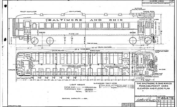 Gas Electric Car Diagram by Baltimore and Ohio Railroad