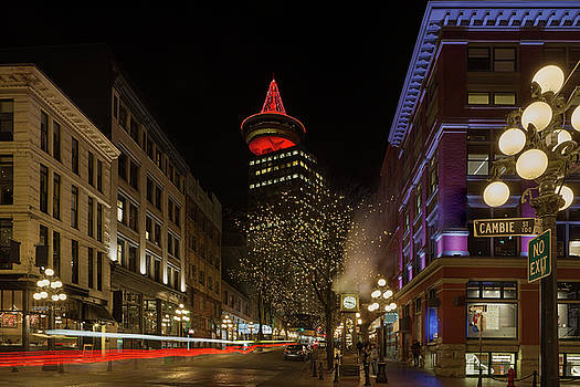 Gastown in Vancouver BC at Night by David Gn