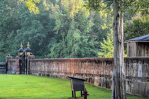 Gate and Brick Wall at Shiloh Cemetery by WildBird Photographs
