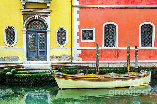 Gate Venice Colorful Buildings Moored Boat Canal Italy Venetian  by Luca Lorenzelli