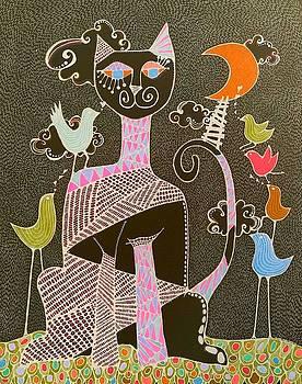 Gato Lunatico Noche  by Sandra Perez-Ramos