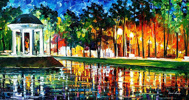 Gazebo By The Water - PALETTE KNIFE Oil Painting On Canvas By Leonid Afremov by Leonid Afremov