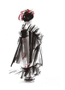 Geisha abstract painting. by Mariusz Szmerdt