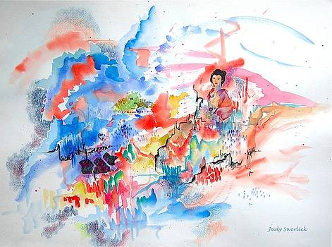 Geisha on Mountain Top by Judy Swerlick