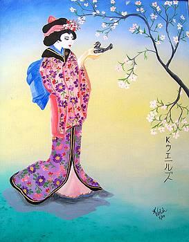 Geisha with Bird by Kathern Welsh