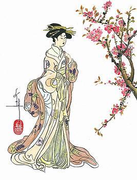 LINDA SMITH - Geisha with Peach Blossoms