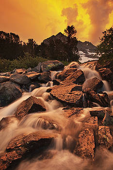 Gem Lakes Cascade Sunset by Nolan Nitschke