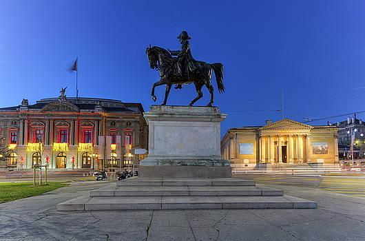 Elenarts - Elena Duvernay photo - General Dufour statue, grand opera and Rath museum at place Neuve, Geneva, Switzerland