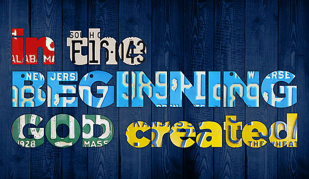 Genesis 1 1 In the Beginning God Created Bible Verse Recycled Vintage License Plate Art by Design Turnpike