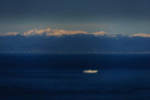 Enrico Pelos - GENOA AND SAVONA COASTAL SEASCAPE WITH SHIP AND SNOWY ALPS MOUNTAINS