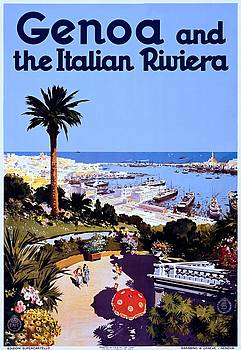 Genoa and the Italian Riviera, travel poster, 1931 by Vintage Printery