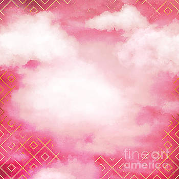 Tina Lavoie - Geometric Clouds In Pink Abstract Metallic art