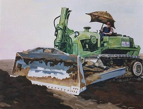 George and His Dozer by Phil Chadwick