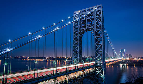 George Washington Bridge Night Scenes by Michael Santos