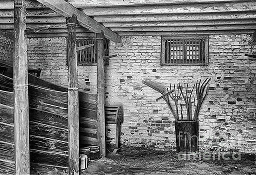 George's Horse Barn Black and White by Karen Adams
