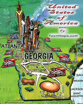 Kevin Middleton - Georgia Cartoon Map