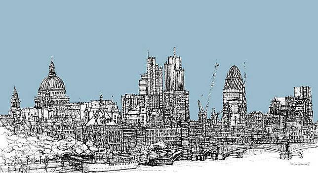 Georgian blue skies over London City skyline by Adendorff Design