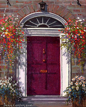 Georgian Door in Burgundy by Sean Conlon
